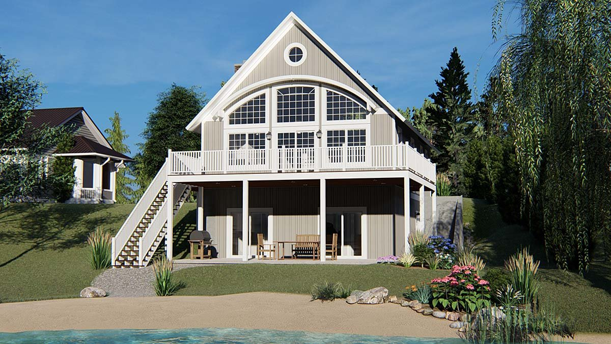 Cabin, Coastal House Plan 50788 with 3 Beds, 4 Baths Front Elevation