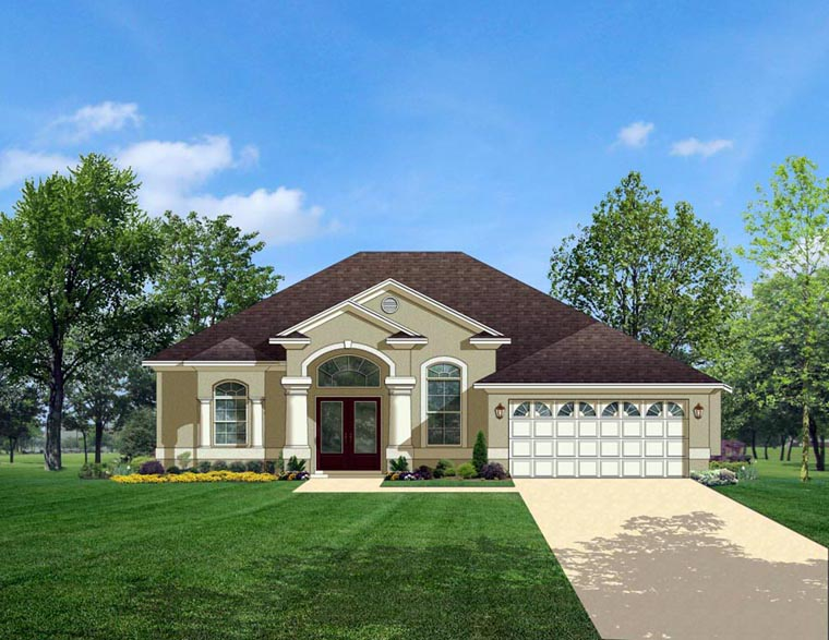European House Plan 50827 with 3 Beds, 2 Baths, 2 Car Garage Front Elevation