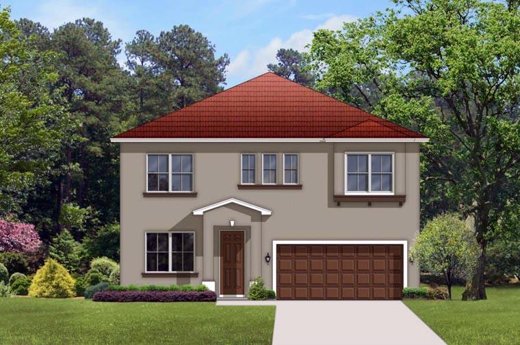 Mediterranean House Plan 50856 with 4 Beds, 3 Baths, 2 Car Garage Front Elevation