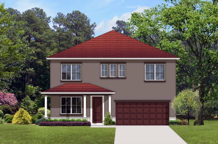 House Plan 50858 with 4 Beds, 3 Baths, 2 Car Garage Front Elevation