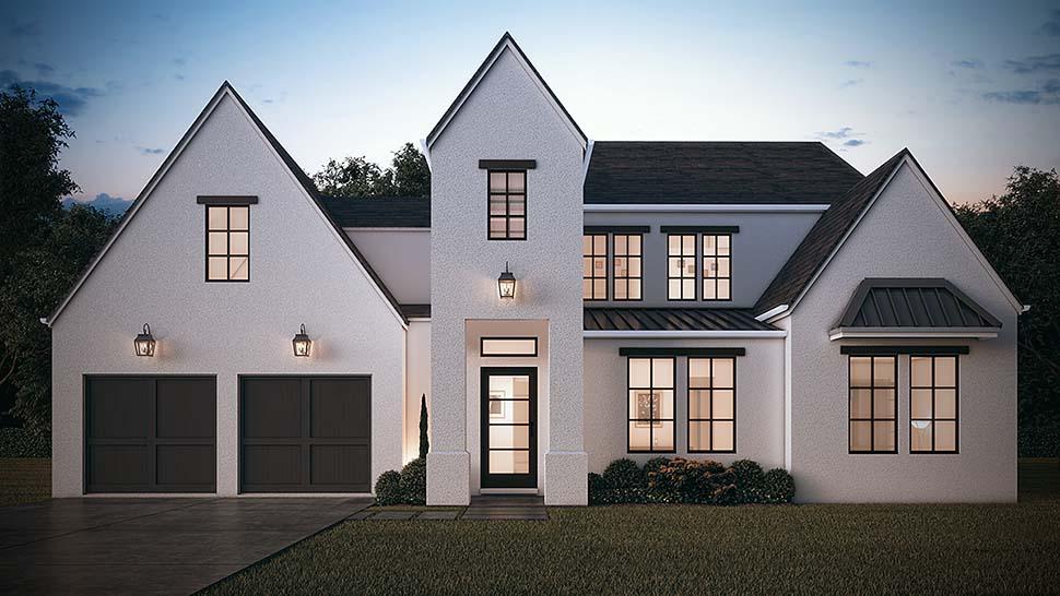 European, Farmhouse, Modern House Plan 50892 with 5 Beds, 5 Baths, 2 Car Garage Front Elevation