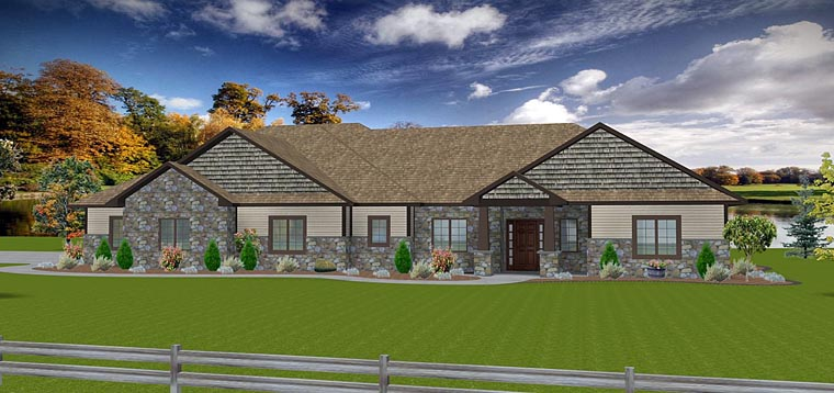 Craftsman, Ranch, Traditional House Plan 50903 with 3 Beds, 3 Baths, 3 Car Garage Elevation
