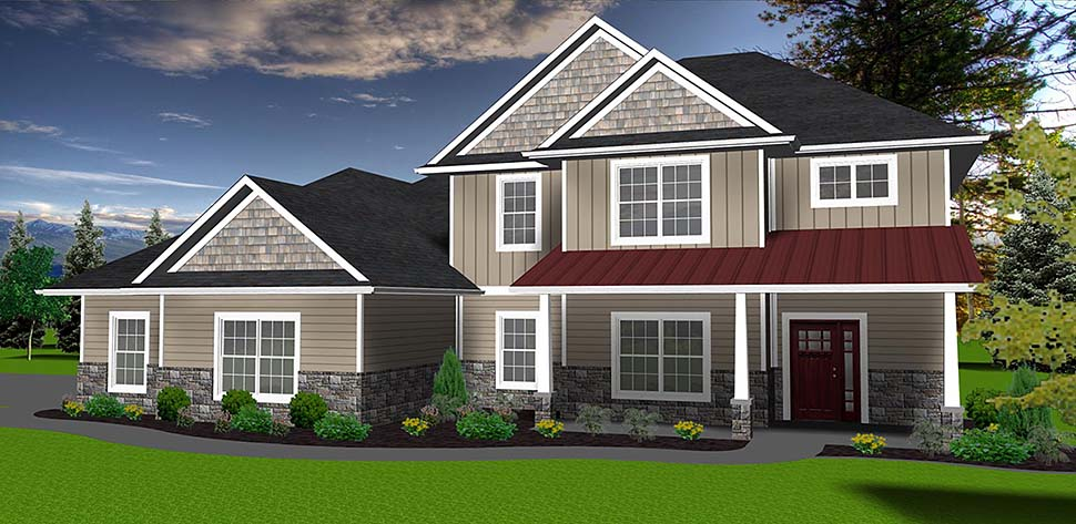 Traditional House Plan 50904 with 4 Beds, 3 Baths, 3 Car Garage Elevation