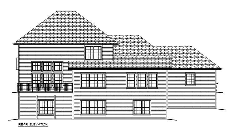 Traditional House Plan 50904 with 4 Beds, 3 Baths, 3 Car Garage Rear Elevation