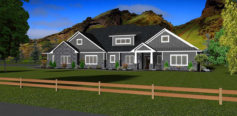 Craftsman, Ranch, Traditional House Plan 50913 with 3 Beds, 3 Baths, 3 Car Garage Elevation