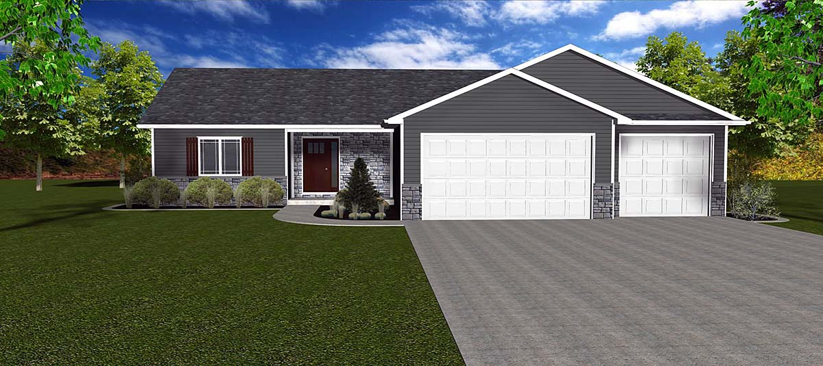 Craftsman, Ranch, Traditional House Plan 50914 with 3 Beds, 2 Baths, 3 Car Garage Elevation