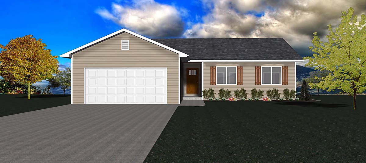 One-Story, Ranch, Traditional House Plan 50915 with 3 Beds, 2 Baths, 2 Car Garage Elevation