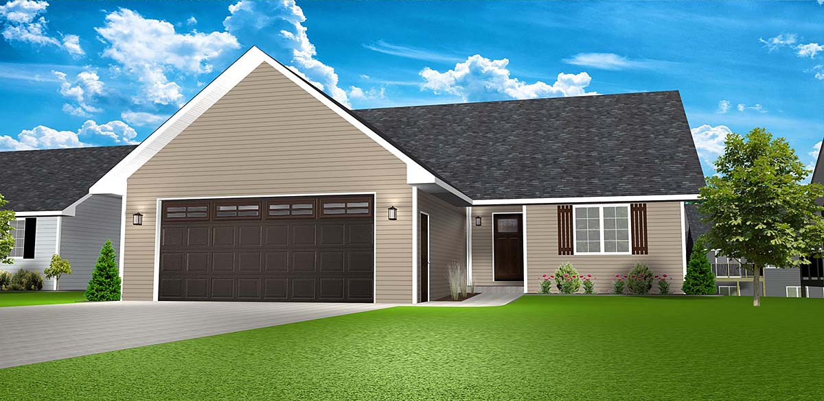 Country, One-Story, Ranch, Traditional House Plan 50916 with 3 Beds, 3 Baths, 2 Car Garage Elevation