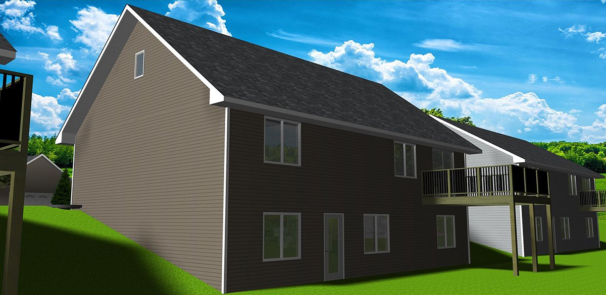 Country, One-Story, Ranch, Traditional House Plan 50916 with 3 Beds, 3 Baths, 2 Car Garage Rear Elevation
