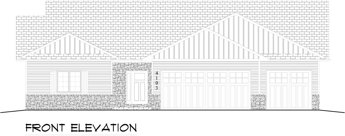 Ranch, Traditional House Plan 50917 with 3 Beds, 2 Baths, 2 Car Garage Picture 1