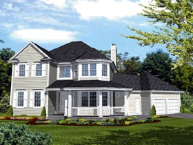 Bungalow, Farmhouse, Southern, Victorian House Plan 51007 with 3 Beds, 3 Baths, 2 Car Garage Elevation