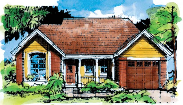 Country, One-Story House Plan 51024 with 2 Beds, 2 Baths, 1 Car Garage Front Elevation