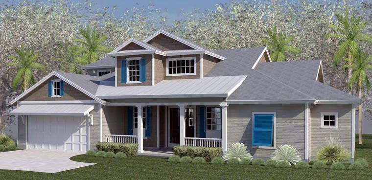 Coastal, Cottage, Country, Florida, Southern, Traditional House Plan 51214 with 4 Beds, 3 Baths, 2 Car Garage Elevation