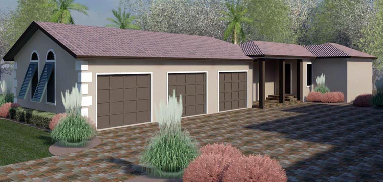 Bungalow, Florida, Southern, Southwest 3 Car Garage Apartment Plan 51223 with 1 Beds, 1 Baths Elevation
