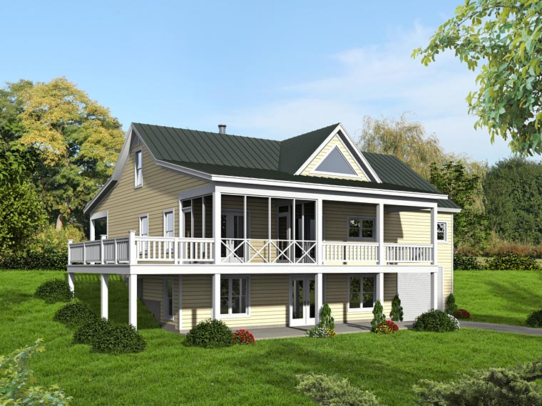 Country, Craftsman, Ranch, Traditional House Plan 51422 with 2 Beds, 2 Baths Rear Elevation