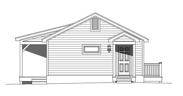 Cabin, Contemporary, Country House Plan 51427 with 1 Beds, 1 Baths Rear Elevation