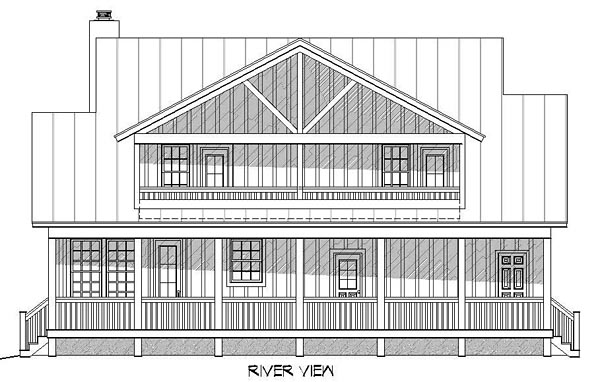 Country House Plan 51438 with 3 Beds, 4 Baths Rear Elevation
