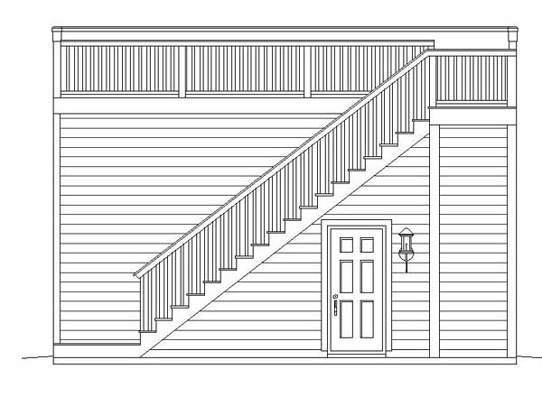 Contemporary 2 Car Garage Apartment Plan 51450 Rear Elevation