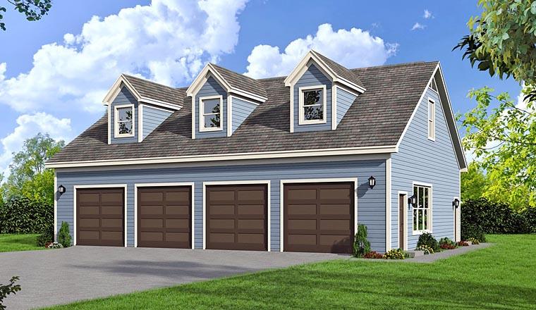 4 Car Garage Plan 51454 Elevation