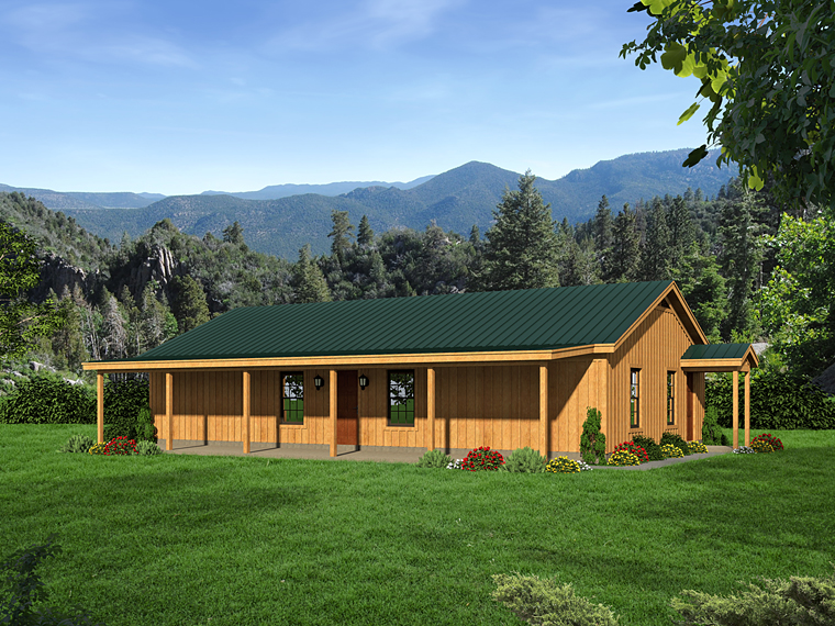 Cabin, Country, Ranch, Southern House Plan 51456 with 2 Beds, 1 Baths Elevation