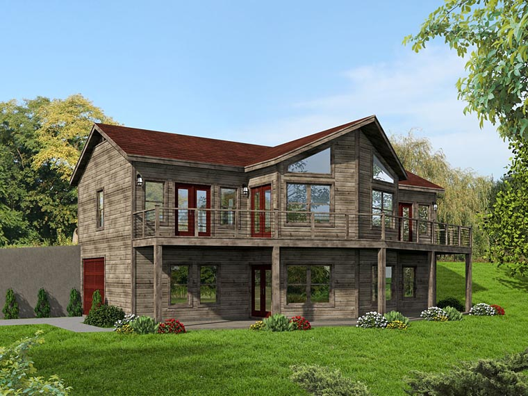 Contemporary, Country House Plan 51459 with 3 Beds, 4 Baths, 1 Car Garage Elevation