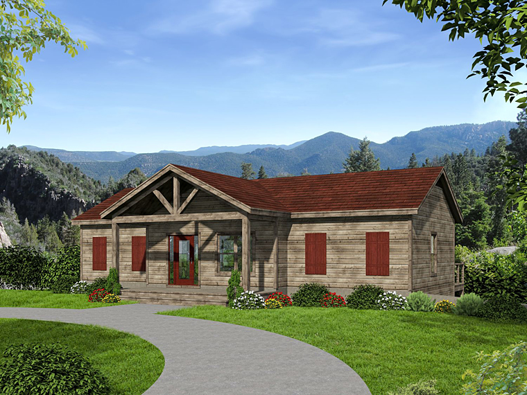 Contemporary, Country House Plan 51459 with 3 Beds, 4 Baths, 1 Car Garage Rear Elevation