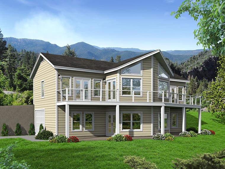 Cabin, Country House Plan 51460 with 3 Beds, 4 Baths, 1 Car Garage Elevation