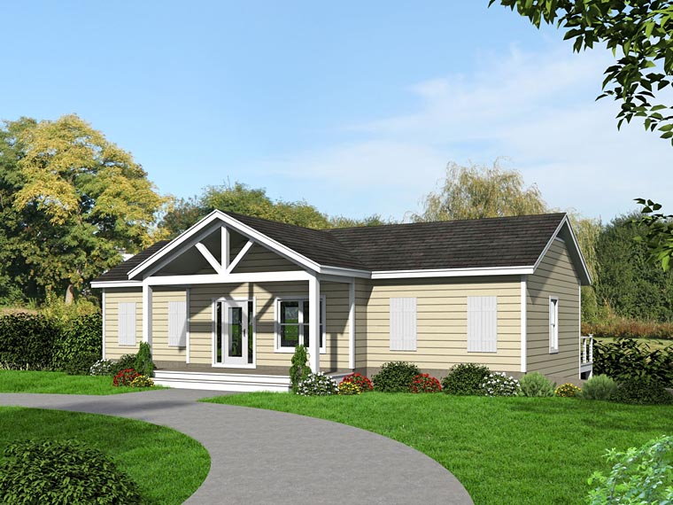 Cabin, Country House Plan 51460 with 3 Beds, 4 Baths, 1 Car Garage Rear Elevation