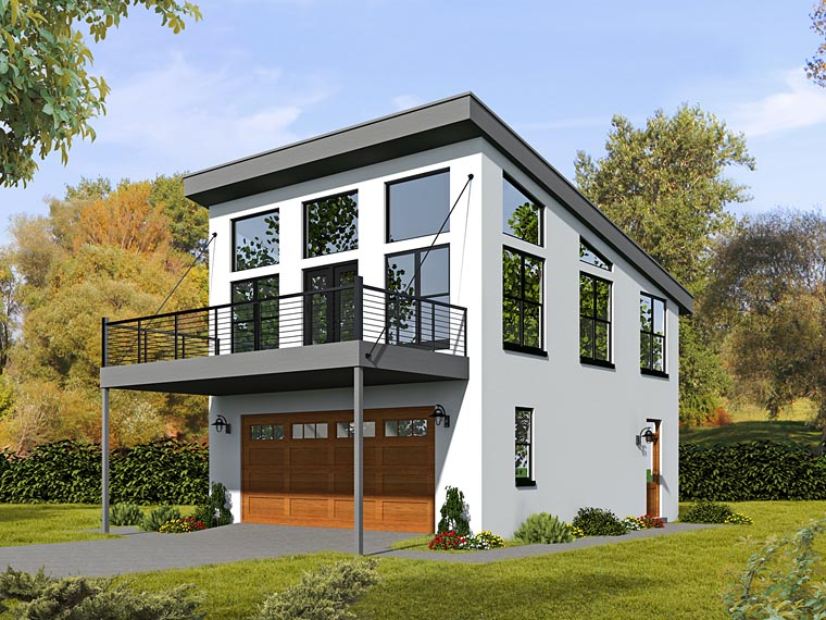 Contemporary, Modern 2 Car Garage Apartment Plan 51479 with 1 Beds, 1 Baths Front Elevation