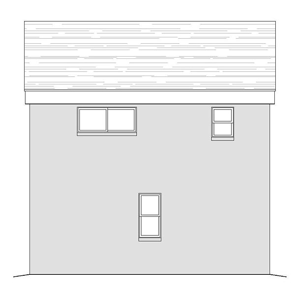 Contemporary, Modern 2 Car Garage Apartment Plan 51479 with 1 Beds, 1 Baths Rear Elevation
