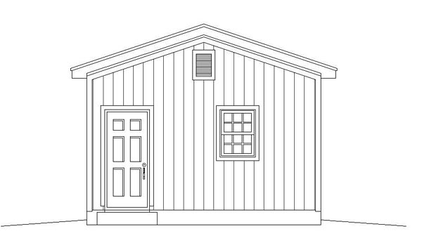 Traditional 1 Car Garage Plan 51502 Rear Elevation