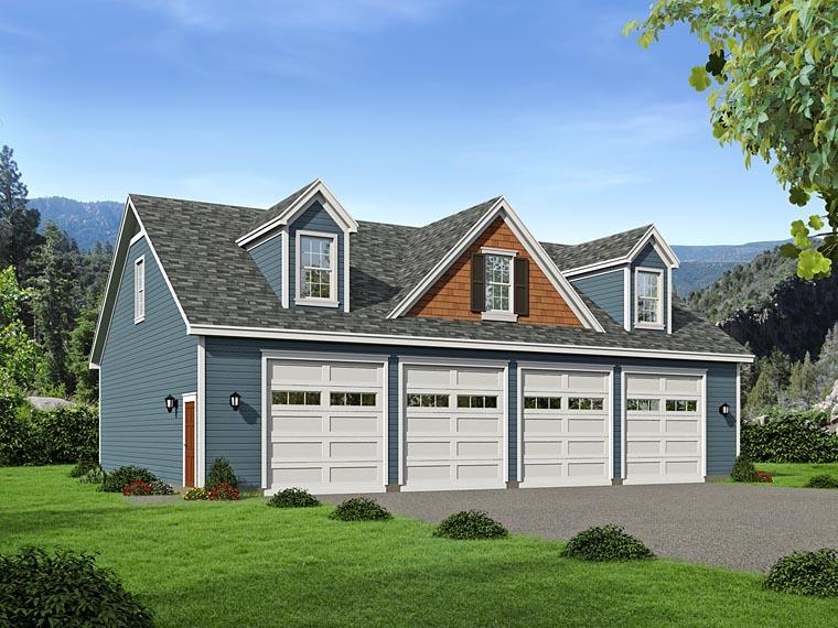 4 Car Garage Plan 51505 Elevation