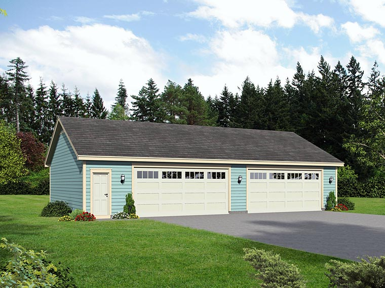 Traditional 4 Car Garage Plan 51509 Elevation