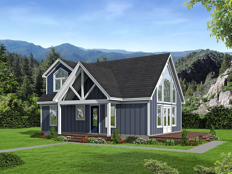 Contemporary, Traditional House Plan 51531 with 3 Beds, 2 Baths Elevation