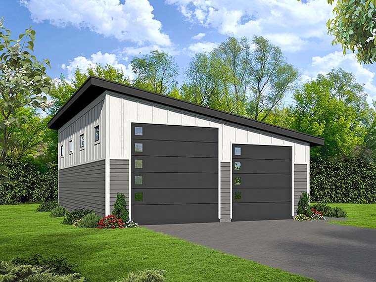Modern 3 Car Garage Plan 51539, RV Storage Elevation