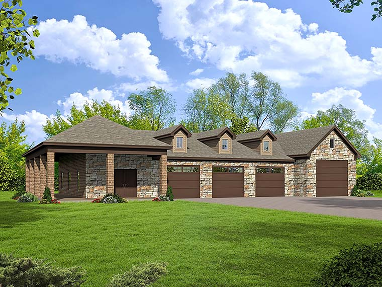 6 Car Garage Plan 51541, RV Storage Elevation