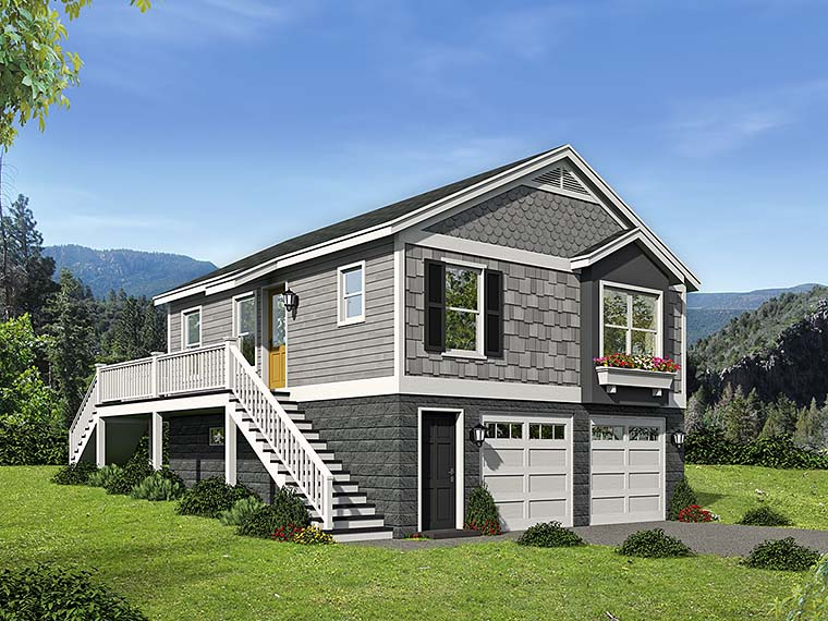 2 Car Garage Apartment Plan 51545 with 1 Beds, 1 Baths Elevation