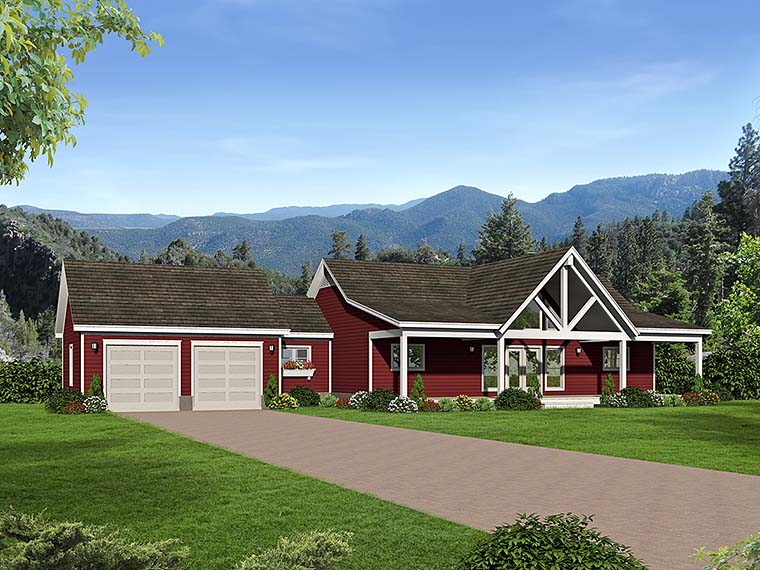 Country, Southern, Traditional House Plan 51551 with 2 Beds, 2 Baths, 2 Car Garage Front Elevation