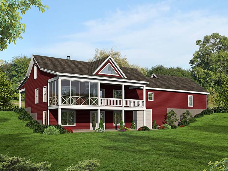 Country, Southern, Traditional House Plan 51551 with 2 Beds, 2 Baths, 2 Car Garage Rear Elevation