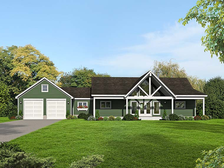 Contemporary, Country House Plan 51552 with 2 Beds, 2 Baths, 2 Car Garage Elevation