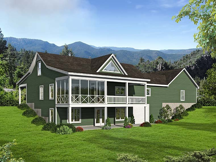 Contemporary, Country House Plan 51552 with 2 Beds, 2 Baths, 2 Car Garage Rear Elevation