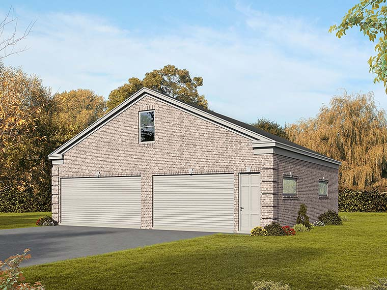 Traditional 4 Car Garage Plan 51566 Elevation