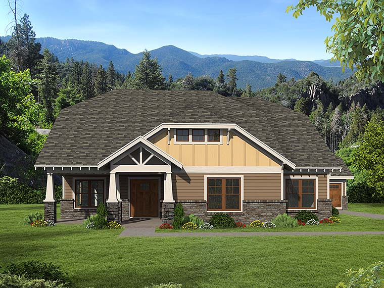 Bungalow, Cottage, Country, Craftsman, Southern House Plan 51568 with 3 Beds, 3 Baths, 3 Car Garage Elevation