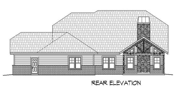 Bungalow, Cottage, Country, Craftsman, Southern House Plan 51568 with 3 Beds, 3 Baths, 3 Car Garage Rear Elevation