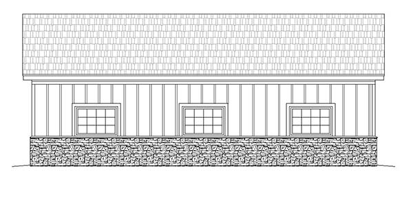 3 Car Garage Plan 51579 Rear Elevation
