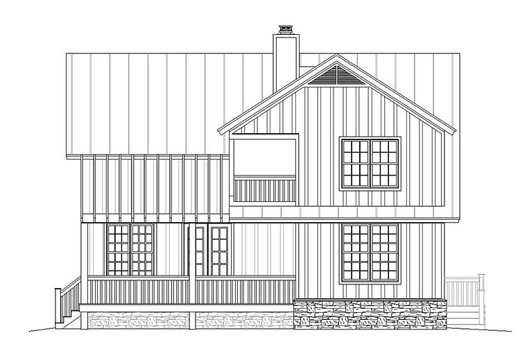 Cabin, Cottage, Country, Southern House Plan 51583 with 3 Beds, 3 Baths Rear Elevation