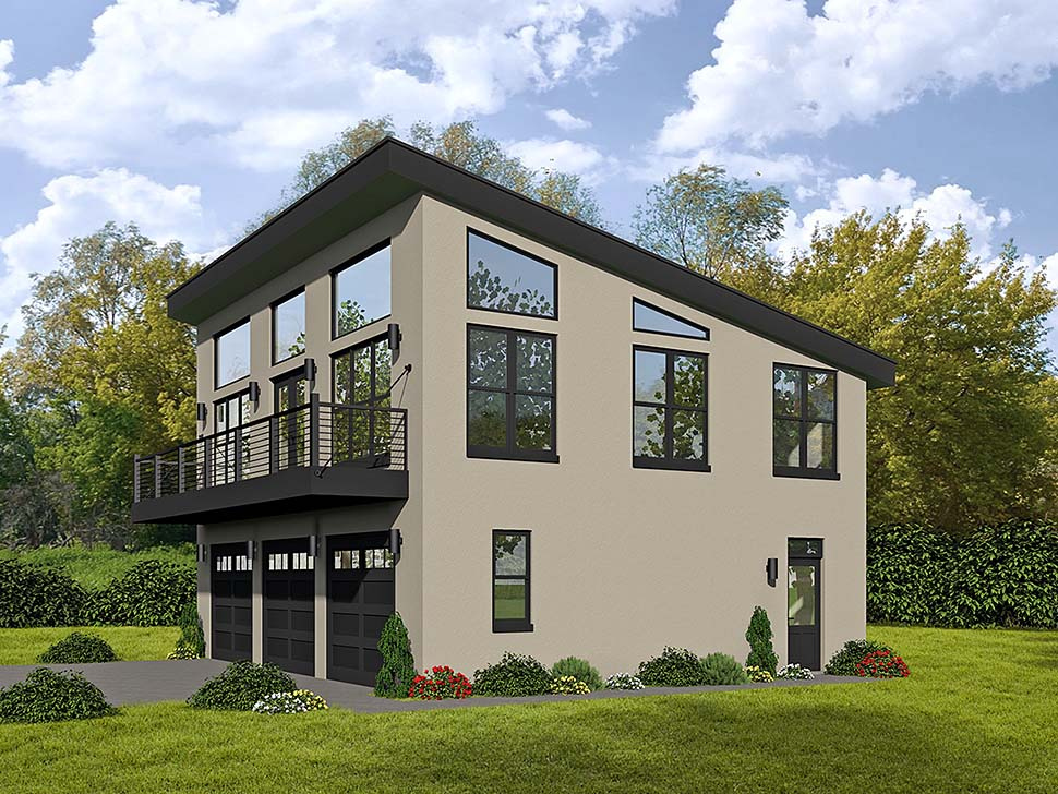 Modern 3 Car Garage Apartment Plan 51589 with 1 Beds, 2 Baths Front Elevation