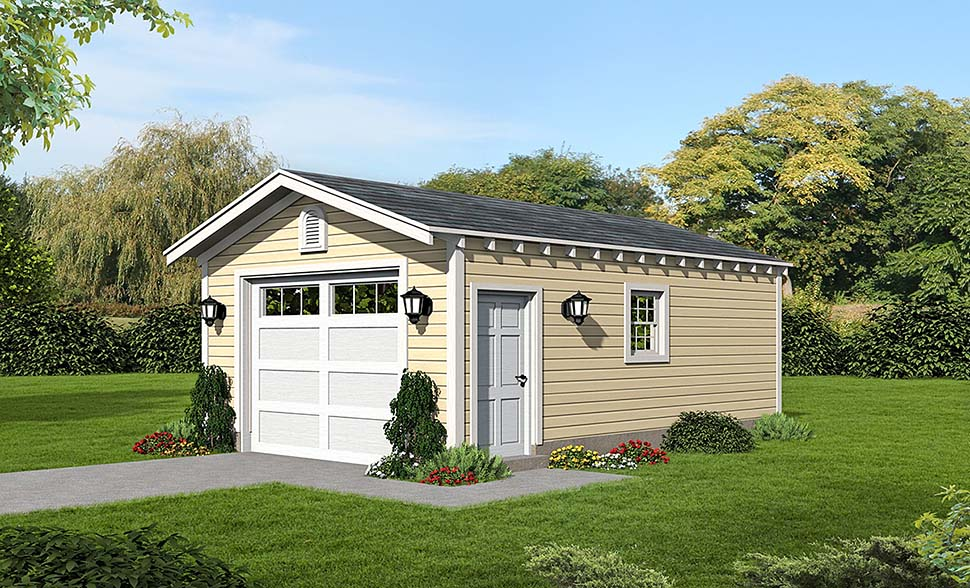 1 Car Garage Plan 51590 Front Elevation