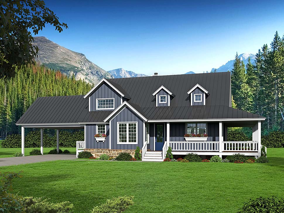 Country, Farmhouse, Southern House Plan 51593 with 3 Beds, 3 Baths, 2 Car Garage Front Elevation