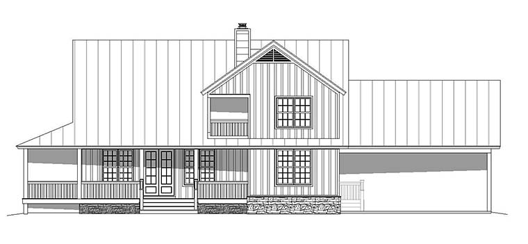 Country, Farmhouse, Southern House Plan 51593 with 3 Beds, 3 Baths, 2 Car Garage Rear Elevation